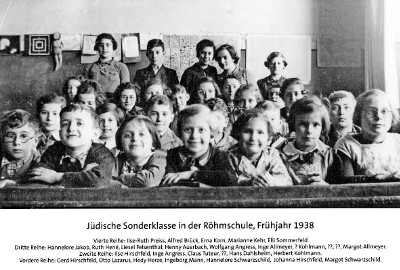 Jüdische Sonderklasse in der Röhmschule 1938